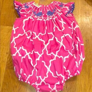 Other - ITTY BITS Quatrefoil Whale Smocked Girl Romper 18M